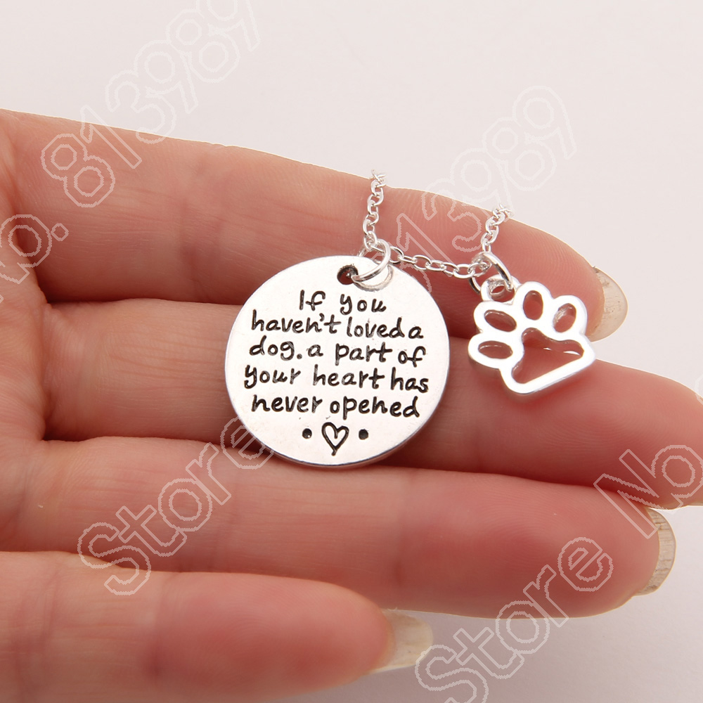 1149 If You Haven't Loved A Dog Necklace Pet Lover Paw Print Necklace Memorial Tag Necklaces Pendants Gold Plated Choker Women(China (Mainland))