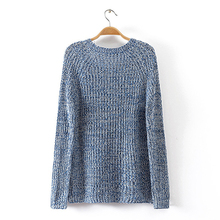 2016 Spring Women Mixed Color Wool Plus Size Oversized Loose Knitted Pullover Jumper Sweater O-Neck Long Sleeve Fashion Dress(China (Mainland))