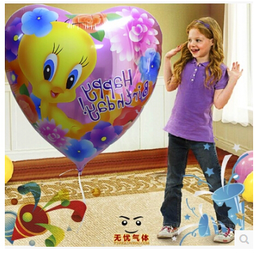 "Free shipping birthday party ideas kids birthday party tweety theme balloons 18"" foil balloon 2pcs/pack(China (Mainland))"