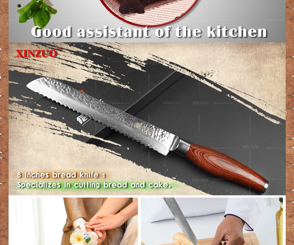 "Buy 2016 XINZUO New 73 layers 8"" bread knife Japanese Damascus steel kitchen knife cake knife with Color wood handle free shipping cheap"