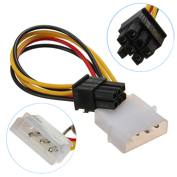Hot Sale 4 Pin to 6 Pin PCI-Express PCIE Video Card Power Converter Adapter Cable Cables Connectors(China (Mainland))