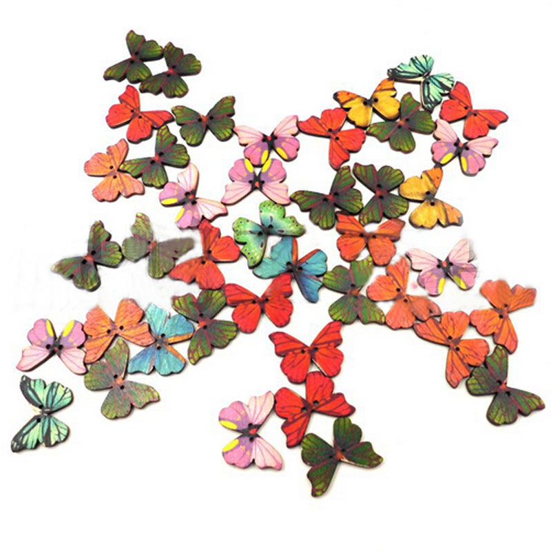 50Pcs/Bag New Mixed Bulk Butterfly Phantom Wooden Sewing Button Scrapbooking 2 Holes For Home DIY Sewing Tool(China (Mainland))