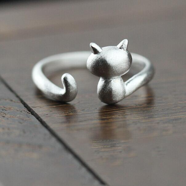 925 Sterling Silver Twine Cat Ring Young Girl Jewelry 925 Sterling Silver Rings For Women Adjustable(China (Mainland))