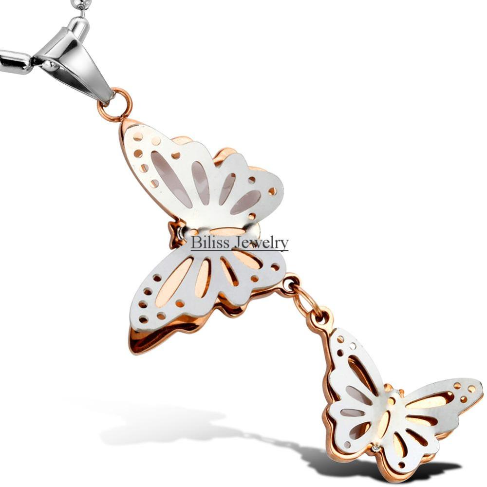 New Arrived Stainless Steel Silver and Gold Charm Double Butterflies Pendant Necklace Bead Ball Chain for Womens Women Gifts(China (Mainland))