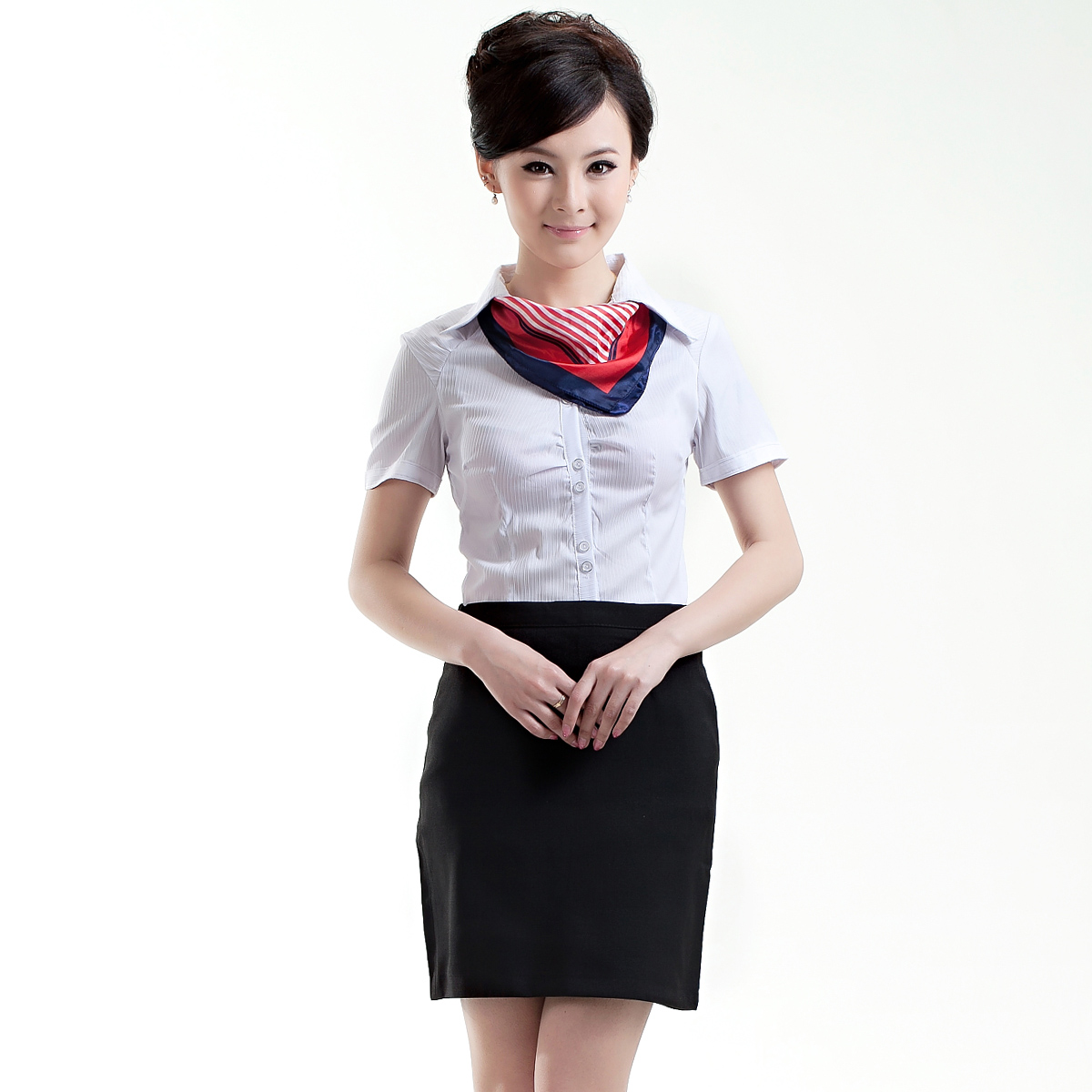 20pcs Free Ship Silk Scarf Short Sleeve Shirt Work Wear