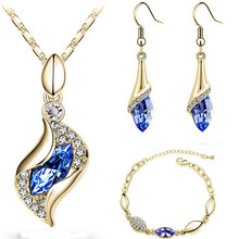Elegant Waterop Earrings Jewelry Sets Gold Plated Austrian Crystal Necklace Bracelets For Woman Wedding Set Parure Bijoux Femme(China (Mainland))