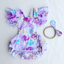 Buy 2017 Summer Newborn Baby Boutique Vintage Floral Rompers Jumpsuit Girl Bloomer Ruffle Romper Baby Girl Clothes for $13.70 in AliExpress store