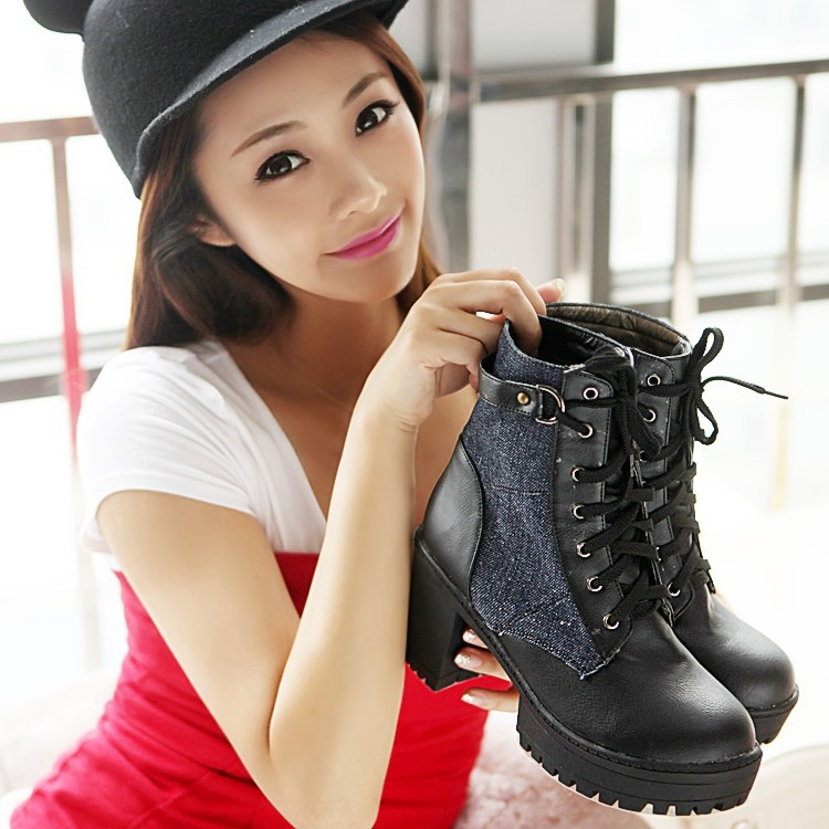 Hot Sales New Womens Motocyle Combat Military Biker Army Round Toe Lace Platfrom Chunky Block High Heel Punk Ankle Boots