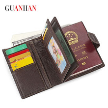 Guarantee 100% Genuine Leather Mens Passport Holder Wallets Man Cowhide Passport Cover Purse Brand Male Credit&Id Car Wallet(China (Mainland))