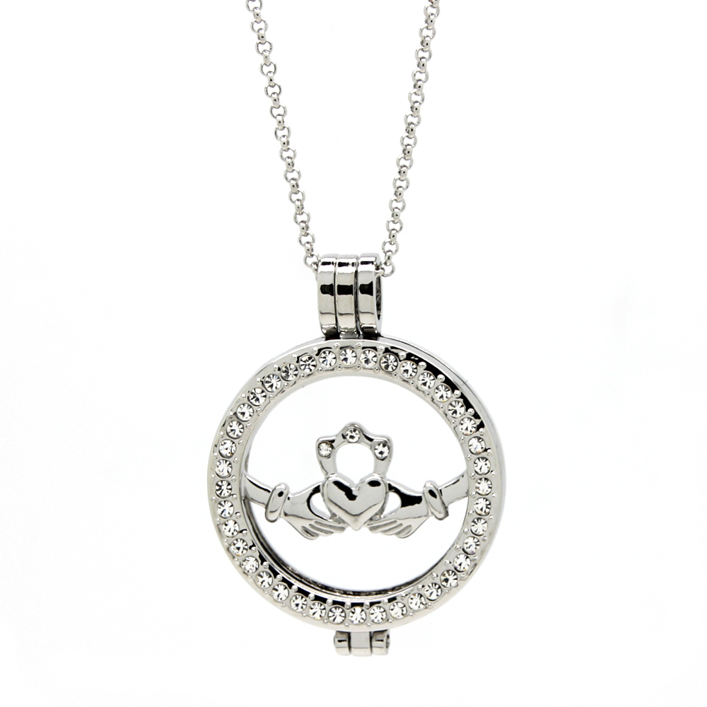 Classic Silver Irish Claddagh Coin Pendant Necklace UK With 80CM Link Chain Gift Jewelry for Mother's Day(China (Mainland))