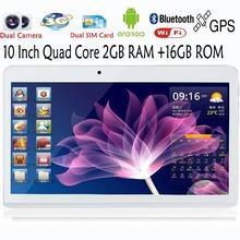 10 Inch Quad Core Dual Camera 2GB 16GB Tablets Pc FM BT GPS 2G 3G Phone
