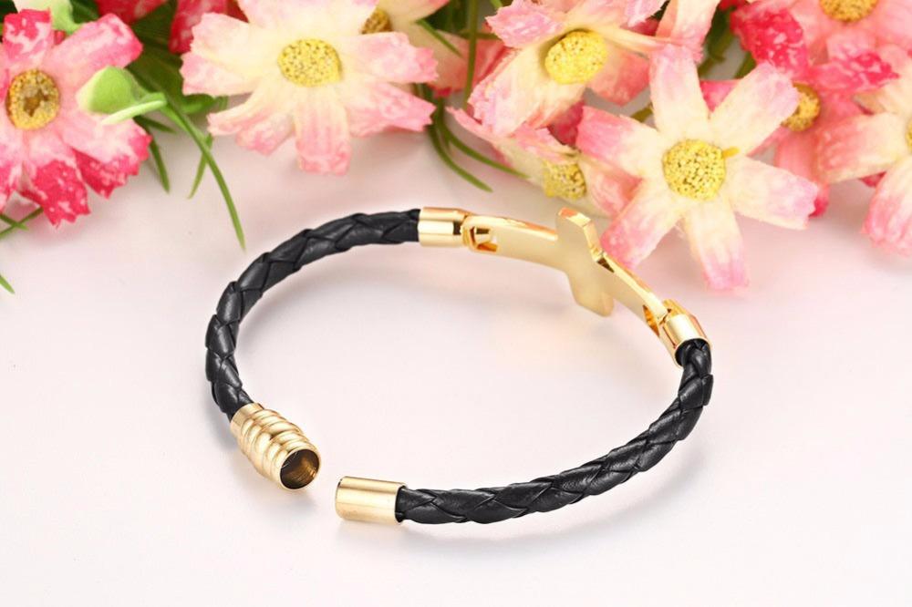 Mens Womens Black Braided Leather Bracelets for Men Gold-color Cross Bangle Bracelets Fashion Magnetic Clasp pulseira masculina Armband 111