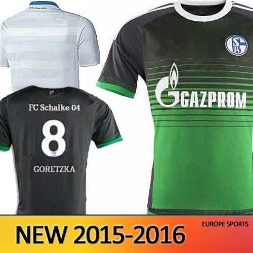Thai Quality FC Schalke 04 15 16 Soccer Jersey Schalke 2015 2016 MEYER NEUSADTER DRAXLER HUNTELAAR uchida prince football shirts(China (Mainland))
