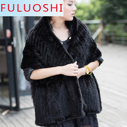 Women 2015 new Fashion Genuine knitted Mink Fur Shawl knitted Mink Fur Scarf Natural Fur Pashmina Lady Fur Scarve(China (Mainland))