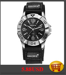 SKONE Watch Men Life Waterproof Quartz Wristwatches Black Watchband Watches HE7345