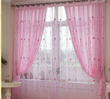 Pink embroidered curtain yarn rustic balcony window screening curtain finished product blinds in bedroom
