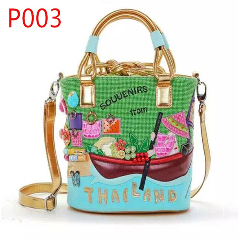 P003-SOUVENIRS from THAILAND Bucket bag Exquisite design of flower/boat/river Genuine leather women handbag shoulder bag(China (Mainland))
