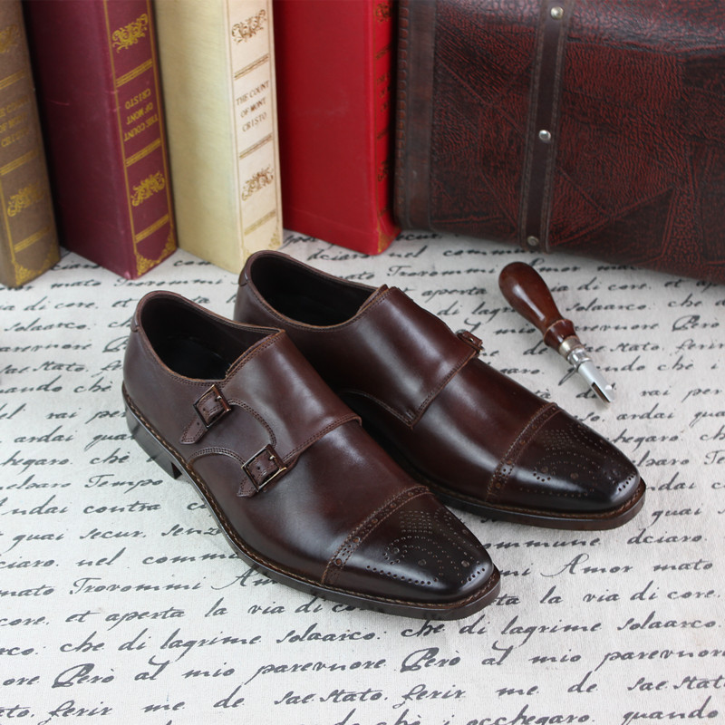 SKP162 Italia Goodyear Craft Genuine Calf Leather Mens Monk Straps Hand Made Shoes Brown Color - Dropshipping Low Price<br><br>Aliexpress