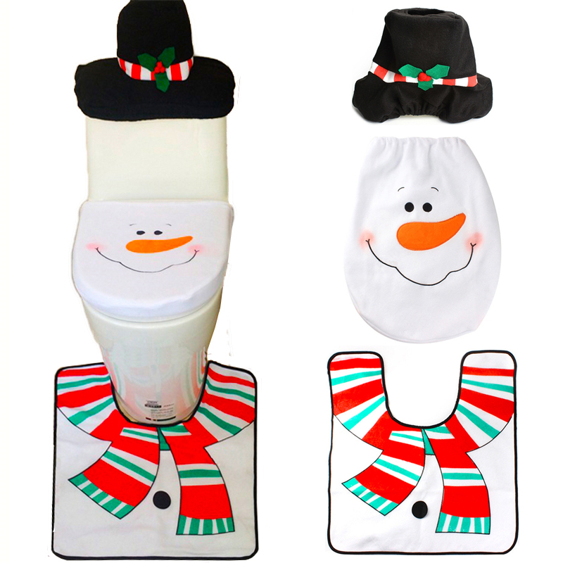 1 Sets Christmas Decorations Xmas Toilet Seat Cover And Rug Washroom Set Snow