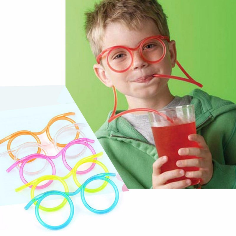 2Pcs/lot Novelty Fashion Cute Fun Use Funny Kids Colorful Soft Glasses DIY Straw Unique Flexible Drinking Tube Kids Party Gift(China (Mainland))