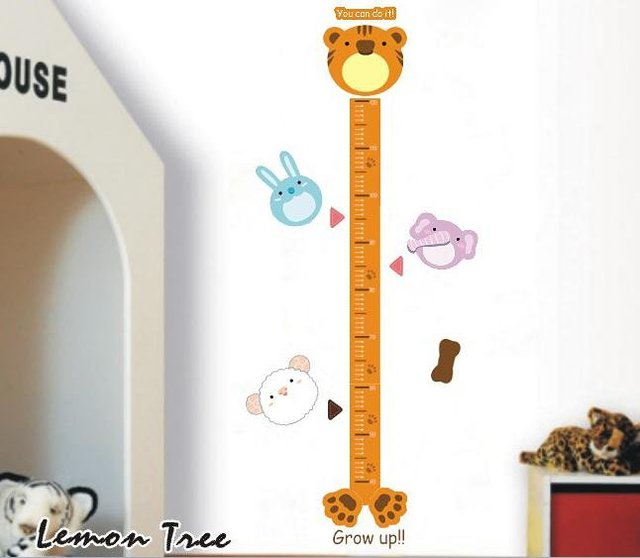 26 x73cm LD624 Tigger Height Measuring Sticker 4 Kids Among 40 -150cm, 7 Places to Put Your Photoes 2 Mark, Individual Packing