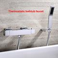 HOLO MUSEN Quality Brass Chrome Wall Mounted Bathtub Thermostatic Shower Mixer w Handheld Shower Bath Shower