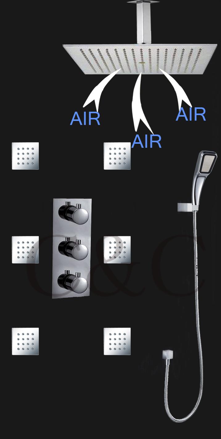 16 Inch Air Drop Water Saving Rainfall Shower Head Pressurize Hand Shower Thermostat Bathroom Rainfall Shower Set 007-16-3ZA(China (Mainland))