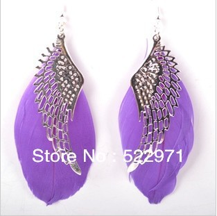 !Hot Sell/female fashion jewelry earrings/Wing style feather retro drop Earrings(Mini Order $10,Mix Order) - Online Store 522971 store
