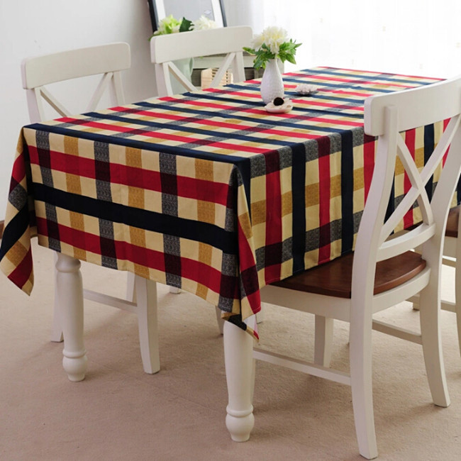 Spring fashion 100% cotton canvas plaid table cloth dining tablecloth tablecloths cover customize(China (Mainland))