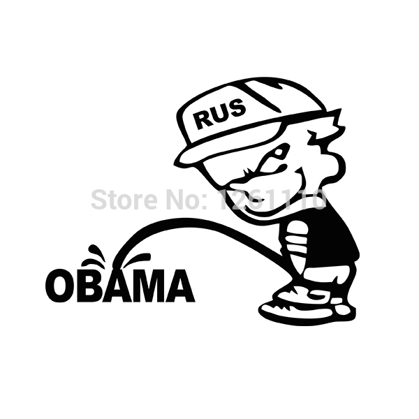 Hot Sell Piss Pee On Obama Vinyl Decal Sticker Car Window Truck Bumper SUV Door Computer Laptop Kayak Funny JDM Cool Graphical(China (Mainland))