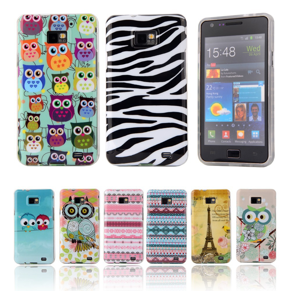 Fashion Lovely Cartoon TPU Silicone Soft Case For Samsung Galaxy S2 SII I9100 S 2 S II Back Cover Cell Phone Protective Bags(China (Mainland))
