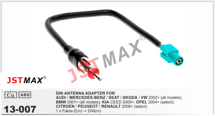 JSTMAX car DVD Radio stereo ISO cable Antenna Aerial Adapter for for AUDI / MERCEDES / SEAT / SKODA/ VW/PEUGEOT/RENAULT Adaptor(China (Mainland))