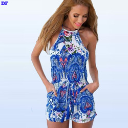 Women Jumpsuit Summer 2015 Backless Sexy Rompers Womens Jumpsuit Blue Mono Plus Size Macacao Feminino XL Playsuits And Jumpsuits