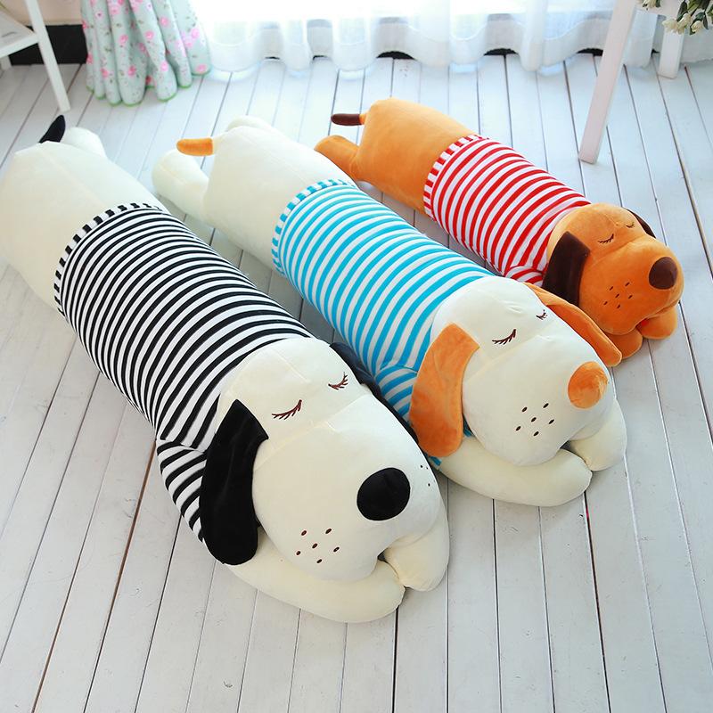 Big Size 70cm Cartoon Stripe Cloth Papa Dog Pillow Toy Lovely Large Stuffed Plush Dog Cushion Bed Baby Girl Sleeping Toys Gift(China (Mainland))
