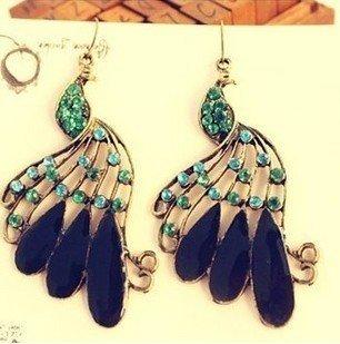T16 sexy  vintage  fashion Rhinestone Peacock earrings for  women ear studs