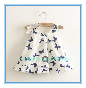 2015 new free shipping butterfly girl dress beach dress baby clothing kids clothing summer fashion design bow girl princess 5pcs