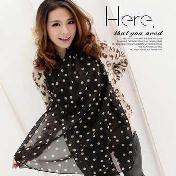 Free Shipping !2015 NEW Style, Classic Polka Dot Scarf  Long Chiffon Scarf  Women's  Korean Version Silk Scarf,S-026