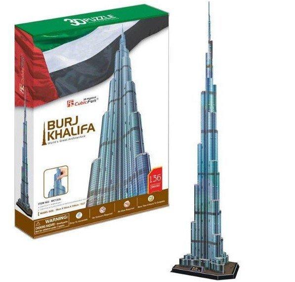 Cubic Fun 3D Puzzle Toys Burj Khalifa Dubai Model DIY Puzzle Toys MC133h paper model Diy Toy children gift toy Children's Gift(China (Mainland))