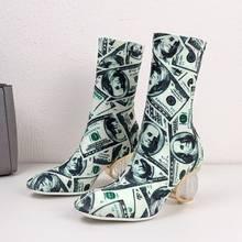 REAVE MÈO Giày người phụ nữ Trên đầu gối giày nữ giày vải Co Giãn Thêu Dệt quả cầu pha lê gót Zapatos de mujer gợi Cảm HOA KỲ 9(China)