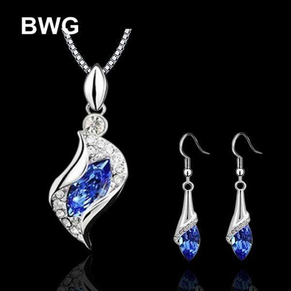 Sapphire African Beads Wedding Engagement Jewelry Sets For Women 2015 Trend Silver Plated Crystal Necklaces Earrings JS15(China (Mainland))