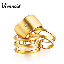 Hot Viennois Fashion Jewelry GP Gold & Silver Plated Triple Layer Wedding Engagement Finger Rings for Women(China (Mainland))