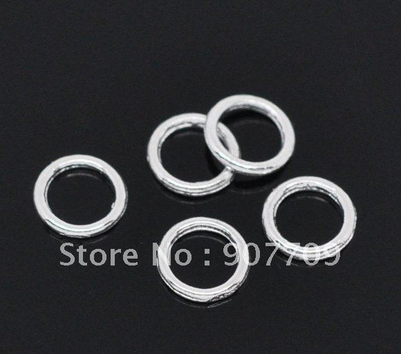 1000 Silver Plated Soldered Closed Jump Rings 6mm. / fashion jewelry Diy Free shipping