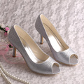 Wedopus New Style Heeled Wedding Shoes Open Toe Rhinestone Silver Satin Size 38
