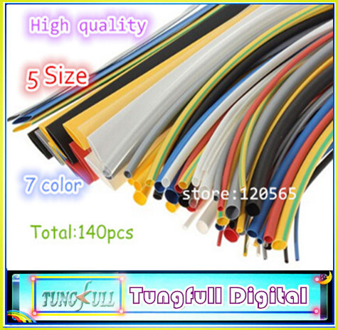 140pcs 7color Assortment 2:1 Heat Shrink Tube Tubing Sleeving Wrap Wire Cable Kit(China (Mainland))