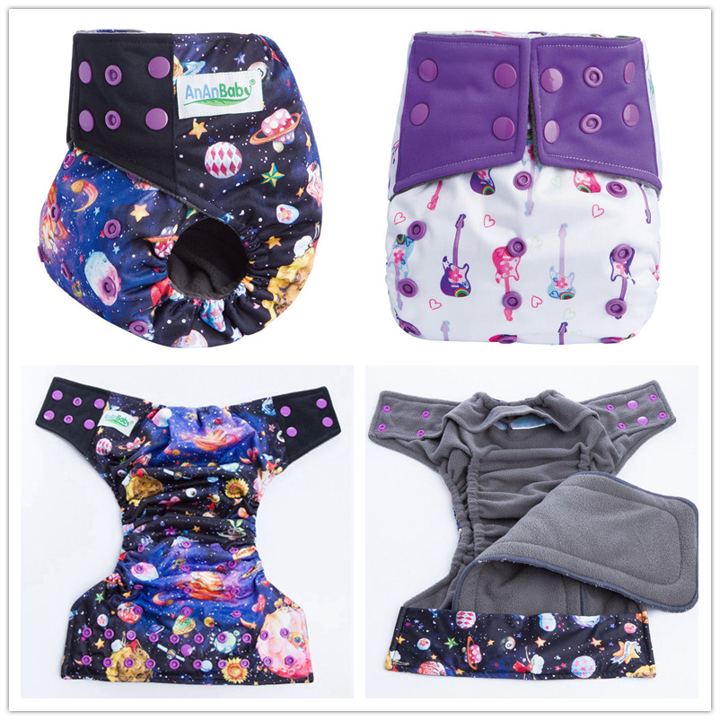 Ananbaby Resuable Bamboo Charcoal Inner Cloth Diaper Washable Baby Cloth Nappies With Double Leaking Gusset & Snap Insert HA018(China (Mainland))