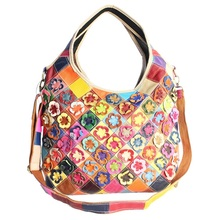 Patchwork Bag Handbags Purse Women Fashion Crossbody Bags Genuine Leather Tote Shoulder Bags Vintage Women Leather Handbag 2016
