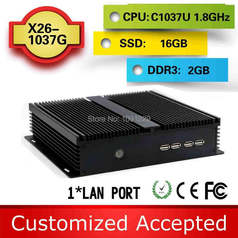 ULP c1037u celeron computer networking pc mini pc c1037u fanless X26-1037G 4 RS232 support win 7 XP system(China (Mainland))