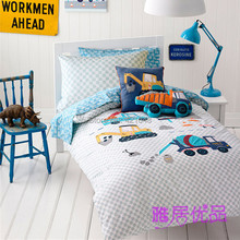 Free shipping  cementing truck&excavator bedding set kids boys cartoon 3pcs/4pcs wrecker quilt cover&pillowcase without filler(China (Mainland))