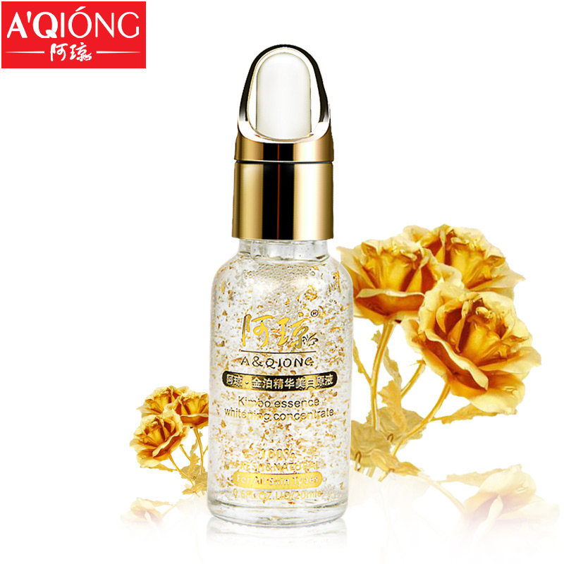 Aqiong 24k Pure Gold Foil Essence Hyaluronic Acid Liquid Cream Whitening Moisturizing Anti-Aging Skin Treatment Face Care Cream(China (Mainland))