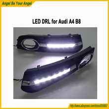 PP+LED High light car LED day running lights, auto front bumper led fog lamps Audi A4 B8 B9 2008 UP - Angel Be Your store
